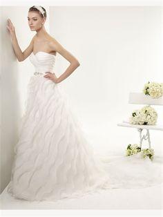 White A Line Sweetheart Beading Organza 2014 Wedding Dress