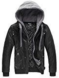 Wantdo Men's Leather Jacket With Removable Hood US XXX-Large Black(Heavy)