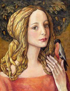"""Victoria Francisco; """"A Girl with bird"""""""