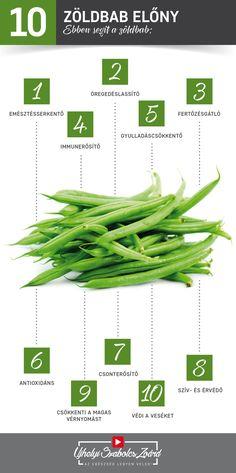 A zöldbabban van A-, B1-, B2-, B9-, C- és K-vitamin, kalcium, foszfor, kálium, szelén, magnézium és mangán is, de sok vasat és rezet is tartalmaz. Támogatja az EMÉSZTÉSt, illetve MÉREGTELENÍT is. Erõs GYULLADÁSCSÖKKENTŐként érdemes fogyasztani ASZTMA vagy ÍZÜLETi gyulladások esetén is. Hozzájárul a CSONTOK erősítéséhez, a csontritkulás megelőzéséhez is. Rostojai EMÉSZTÉSSERKENTŐek, és kedvezően befolyásolják a szervezet KOLESZTERINszintjét is.  Az egészség legyen veled! Green Beans, Anti Aging, Herbs, Vegetables, Fruit, Healthy, Garden, Garten, Lawn And Garden