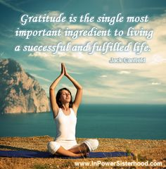 Gratitude is the single most important ingredient to living a successful and fulfilled life.  -Jack Canfield