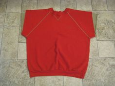 Vintage Russell Athletic Red Crew Neck Waffle Knit Sports T Shirt 50/50 USA L