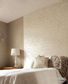 love the lace metallic/gloss finish on the wall, shabby chic with a natural touch!