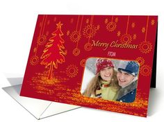 Christmas card with red golden tree and stars with your Photo card