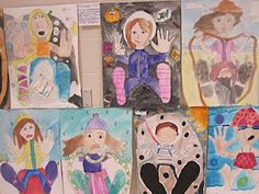 foreshortening self portraits, 4th or 5th grade
