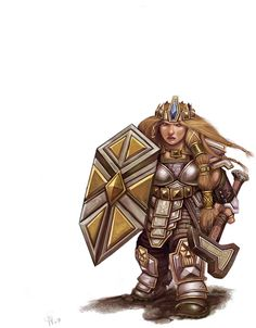 D 4e Female Dwarf - I always liked the geometric look to her armor and weapons.
