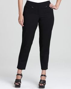 DKNYC plus size skinny pants with faux leather trim