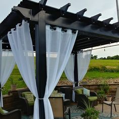 Pergola Patio Layout - Pergola Attached To House With Wall - - Pergola Designs Seating Areas Backyard Patio Designs, Backyard Pergola, Pergola Designs, Outdoor Pergola, Backyard Projects, Backyard Ideas, Pergola Lighting, Indoor Outdoor, Outdoor Patio Curtains
