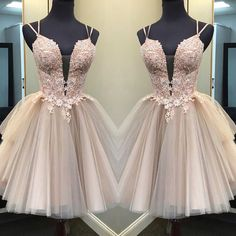 Sexy Pink Tulle Homecoming Dresses, Deep V-Neck Short Party Dresses · Yaydressy · Online Store Powered by Storenvy Special Dresses, Unique Dresses, Simple Dresses, Pretty Dresses, Prom Girl Dresses, Homecoming Dresses, Short Dresses, Bridesmaid Dresses, Prom Gowns