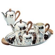 Alessi Coffee and Tea Bombe Sugar Bowl - Silver-Plated Coffee Service, Tea Service, Modern Coffee Makers, Silver Tea Set, Coffee Table Tray, Alessi, Tray Decor, Sugar Bowl, Decoration