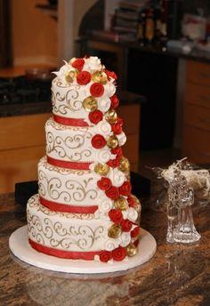 cranberry & gold wedding cake ... this was my wedding cake :)