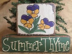 Primitive Country Violets Flowers Summer Thyme 2 pc Shelf Sitter Wood Block Set #PrimtiiveCountry