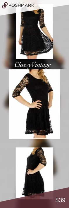 Black floral lace fit n flare dress Layered black lace fit n flare dress. Three quarter length sleeves. 65% cotton and 35% polyester. Boutique Dresses Mini