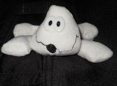 """Beanbag Ghost Plush Stuffed 4"""" Mini Plastic Eyes Dan Dee White Vintage Security #DanDee"""