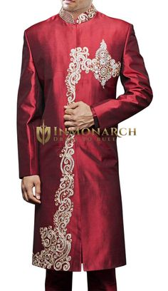Bollywood Designer Maroon Sherwani We roll out a record number of Sherwanis every year. Each one is checked at every stage for stellar quality. Sherwani For Men Wedding, Wedding Men, Indian Groom Wear, Arabian Nights, Maroon Color, Asian Men, Formal Wear, Silk Fabric, Men Fashion