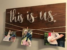 This is us string art, picture hanger, wall decor, nail art, wood signs, picture holder