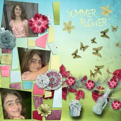 Pictures of my daughter.  Kit used: Bee Creation and Angelique's Scraps' Summer Flower available at http://www.digiscrapbooking.ch/shop/index.php?main_page=index&manufacturers_id=21  Template by Le Pingouin.