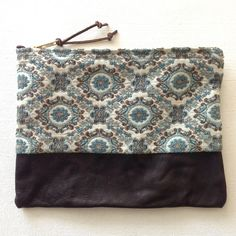 Vintage Fabric and Leather Pouch