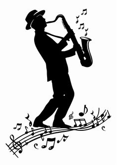Wall Decals  Sax Player Men, Music, Concert, Solo, Sax, Famous, Silhouette-WALLTAT.com Art Without Boundaries