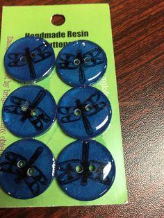 "Handmade Resin Buttons - 5/8"" Set of 6 - Blues"