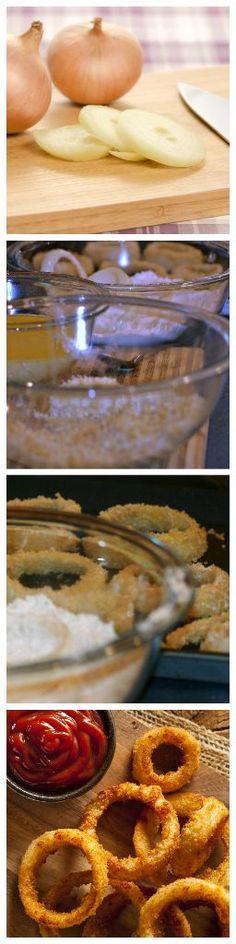 Crunchy Baked Onions Rings with Panko Crumbs  #onionrings #panko