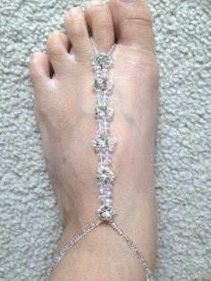 Barefoot Crystal Rhinestone sandal Bridal/wedding diamante anklet foot jewelry  #Handmade