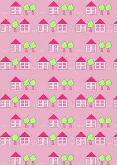 FREE printable cute pattern paper covered with houses, trees and flowers