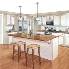 layout is nice- could work for us if we dont put our sink where it is now &put it in the island- or put a countertop range in the island and our sink on the wall where they show the stove