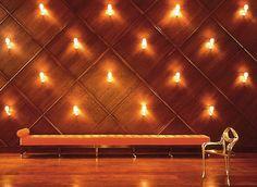 Akira Woods plain sliced American Ash wood panels in main lobby of Delano Hotel, Miami, FLA