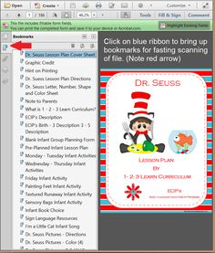 I just just loaded a free Dr. Seuss lesson plan to 1 - 2 - 3 Learn Curriculum.... Who doesn't like Dr. Seuss, and who doesn't like free. :) Click on the picture to access web site and then click on Free Downloads. File is on the bottom of the Free download page - left hand side.