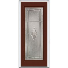 Milliken Millwork 37.5 in. x 81.75 in. Master Nouveau Decorative Glass Full Lite Painted Majestic Steel Exterior Door, Redwood