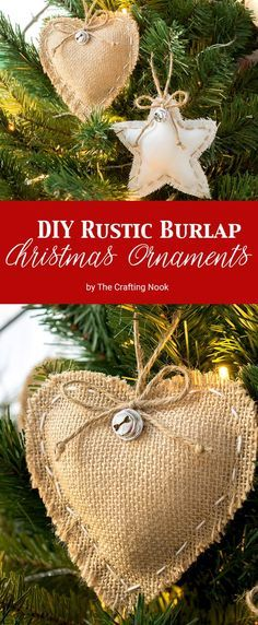 DIY Rustic Burlap Christmas Ornaments