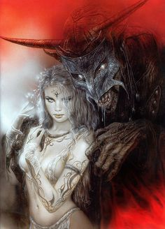 "Luis Royo Matted Print "" New Secrets"". Measures 11 x 14 matted."