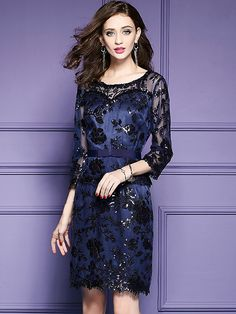 Sexy O-Neck Lace Embroidery Bowknot Bodycon Dress; Size: M,L,XL,2XL,3XL; Color: Blue; Material: Polyester; Style: Vintage; Silhouette: Sheath Dresses; Pattern Type: Solid; Decoration: Embroidery; Dresses Length: Knee-Length; Sleeve Style: Regular; Sleeve Length: Short; Waistline: Empire; Neckline: O-Neck; ; Price: US$ 92.99