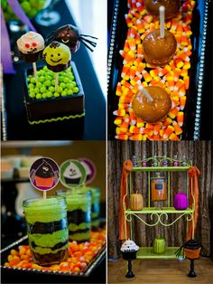 Kids Halloween party, DIY punch, cake pops and caramel apple