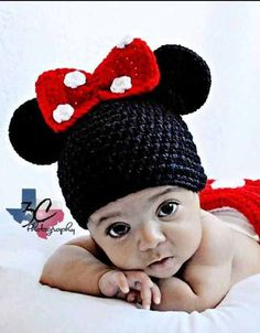 Minnie Mouse Inspired Newborn Crochet Hat, Diaper Cover, and Bootie Set#ahaishopping