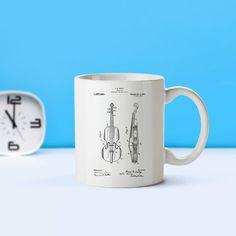 Violin Patent Mug Coffee Mug Coffee Lover Patent Art Patent Mug... (€14) ❤ liked on Polyvore featuring home, kitchen & dining, drinkware, drink & barware, home & living, light blue, mugs, coffee tea mugs, dishwasher safe coffee mugs and tea mug
