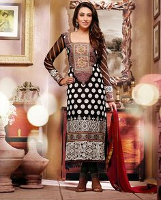 Black and white embroidered long suit   1. Black and white faux georgette embroidered suit2. Comes with matching bottom and dupatta3. Can be stitched upto size 42 inches