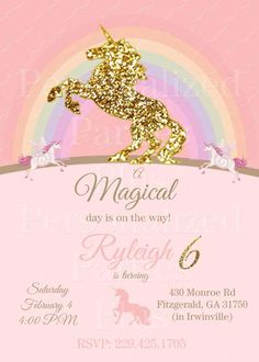 Unicorn Birthday Invitation Pink