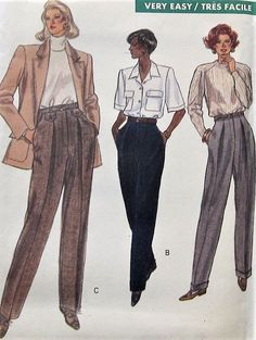 Items similar to Pants Sewing Pattern UNCUT Vogue 7603 Sizes on Etsy Vogue Sewing Patterns, Vintage Sewing Patterns, Clothing Patterns, Fashion Illustration Sketches, Fashion Design Sketches, Illustrations, Vintage Outfits, Vintage Fashion, Make Your Own Clothes