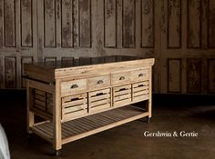 Our Hero Farmers Market Rolling Island with Marble Top: Reclaimed Wood Made In The USA: