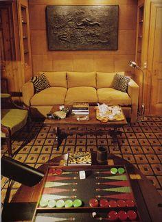 vintage game room set for backgammon by David Hicks