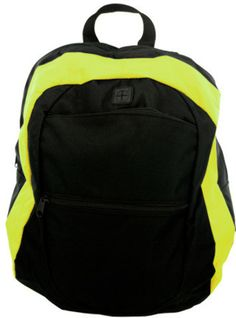 Canvas backpack has 2 front outer pockets including one specifically set up  for a device with headphones. Lime green stripe runs the circumference of  the ... f26a221313