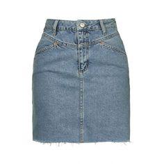 TopShop Moto '80s High-Waisted Skirt (745 MXN) ❤ liked on Polyvore featuring skirts, mini skirts, bottoms, denim, topshop, bleach, blue a line skirt, high-waisted skirts, topshop skirts and short skirts