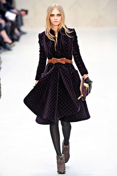 Burberry Prorsum Fall 2012 Collection Quilted Velvet Coat