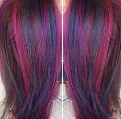 Kenra Color Creatives magenta, teal, blue, and violet color creating a peacock-inspired palette! Kenra Professional Technical Educator Cassie Siscovik pre-lightened with Kenra Color Lightener + 30 volume and processed under heat for 20 minutes.