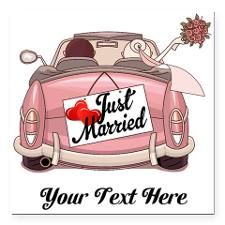 "Just Married Square Car Magnet 3"" x 3"""