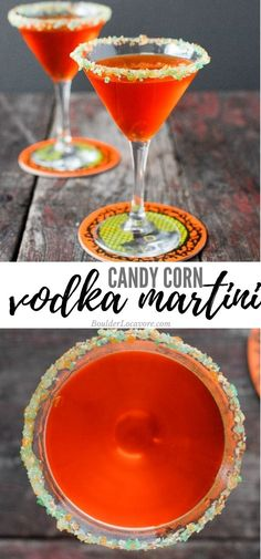 Candy Corn Vodka Martini with Pop Rocks rim. Made with Homemade Candy Corn Vodka. Buttery but not sweet! The Pop Rocks are pop when sipping the cocktail! #cocktail #Halloween