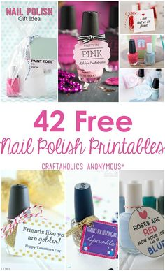 42 Free Nail Polish Printables round up. These make great Christmas gifts!