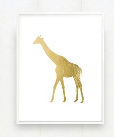 Gold Giraffe Zoo Art Print in Metallic Goldleaf  8x10 by prettymod, $38.00